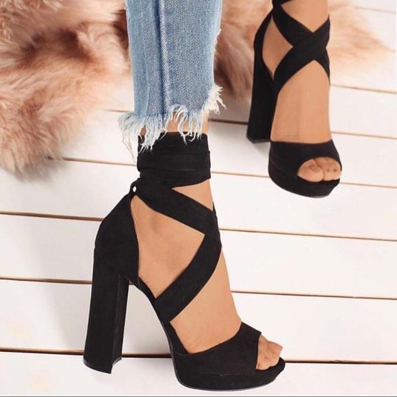 available pick up store Shoes | Black Tie Up Wrap Around Platform Heel | Poshmark